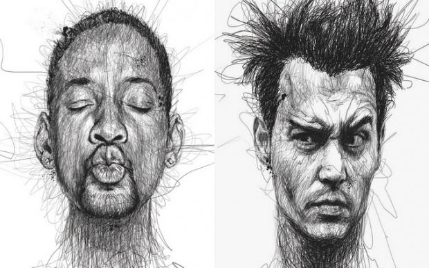 Художник рисует портреты актеров, не отрывая ручку от листа