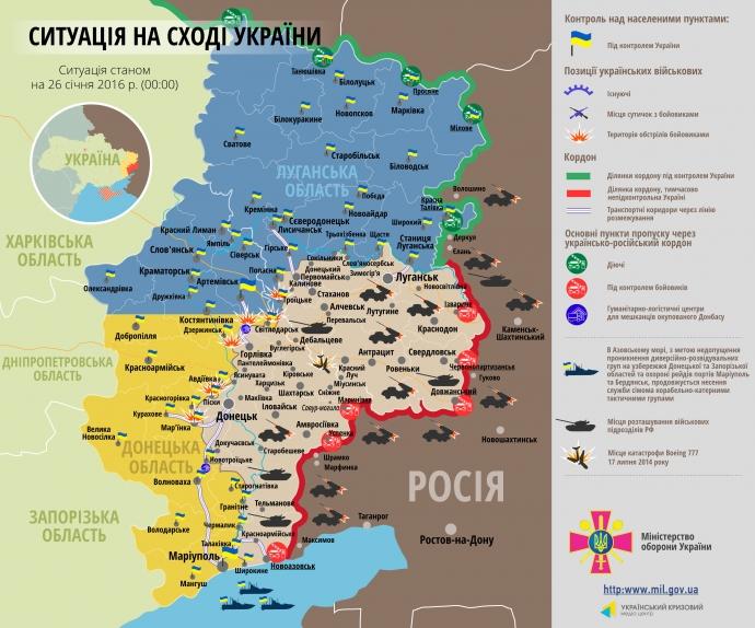 Карта АТО по состоянию на 26 января