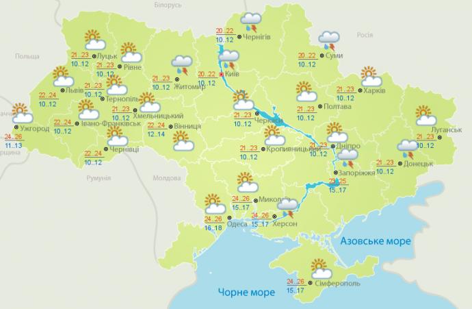 Прогноз погоды на выходные дни в Украине - 8-9 июля (2)