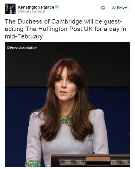 Герцогиня Кембриджська стане редактором для Huffington Post (1)