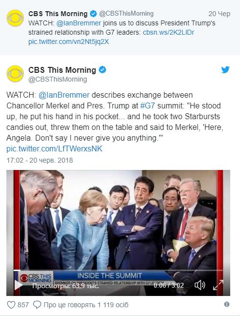 Щедрая душа: Трамп швырял Меркель конфеты на саммите G7 (1)