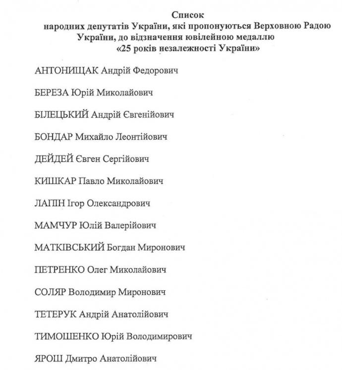 Тетерук, Білецький, Тимошенко та інші: 14 нардепів отримають нагороди (1)
