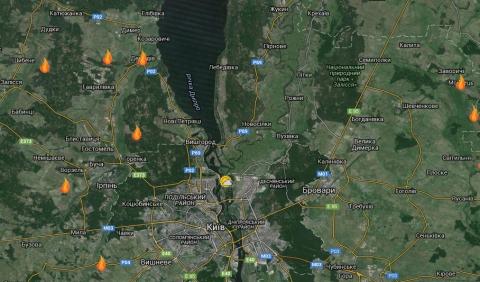Складена карта пожеж на торфовищах у Київській області