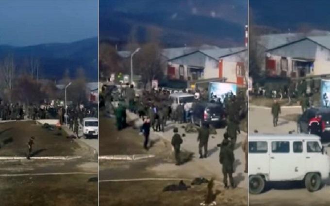 В воинской части в Чечне произошла массовая драка: опубликовано видео