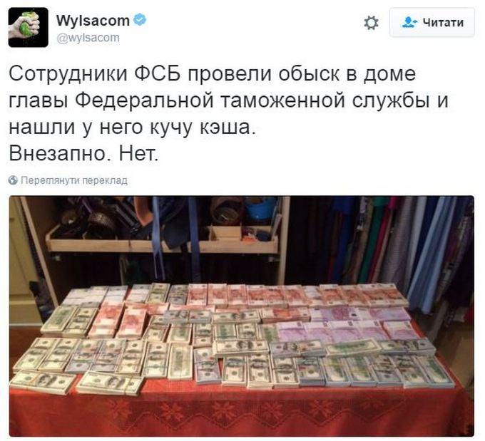 Портрет Путіна не врятував: в мережі посміялися над обшуками у головного митника Росії (8)