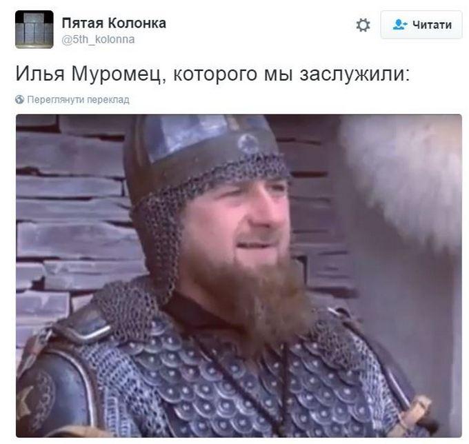 Мережу підірвав Кадиров, який з'явився на прийомі в шоломі і латах: опубліковано відео (2)