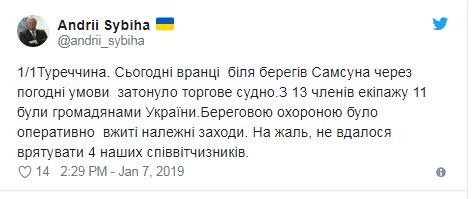 Під час аварії судна біля берегів Туреччини загинуло четверо українців: названа причина (1)