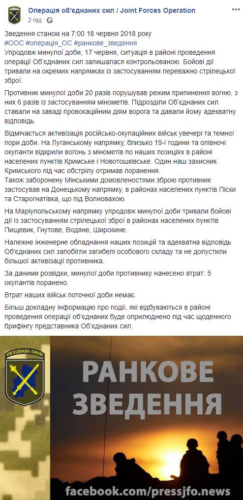 Ситуація на Донбасі загострюється: в штабі ООС повідомили про кількість поранених (1)