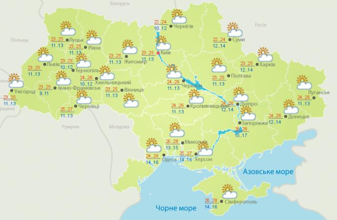 Прогноз погоды в Украине на 14 сентября (1)