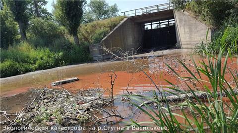 Под Киевом река стала красной от химикатов: появились фото (1)