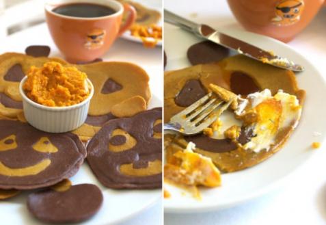 Рецепт - Тыквенно-шоколадные оладьи на Хэллоуин