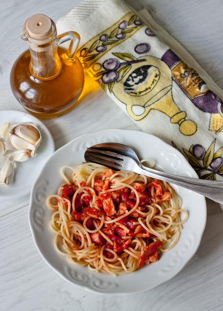 Спагетти с ветчиной в томатном соусе