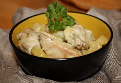 Рагу из курицы в сметане