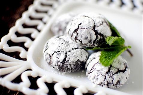 Рецепт - Печенье с мятой и темным шоколадом