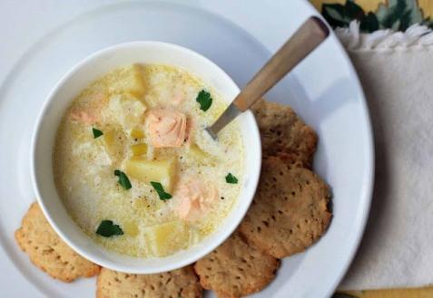Рецепт - Сливочный суп с лососем