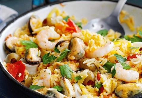 Постный рис с морепродуктами
