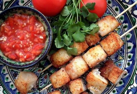 Рецепт - Нежный рыбный шашлык