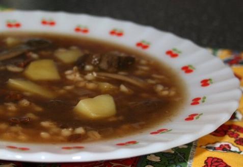 Рецепт - Грибной суп с перловой крупой