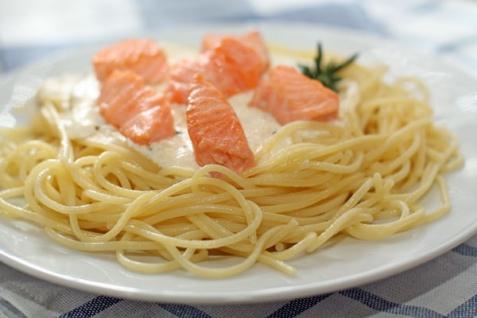 Рецепт - Спагетти с лососем