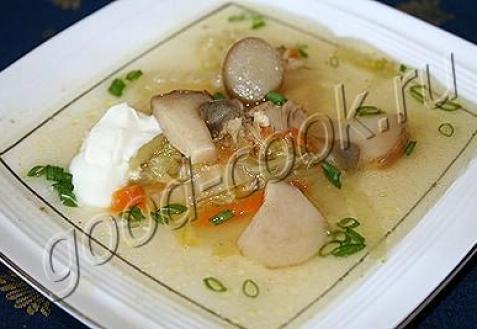 Куриный суп с грибами и пекинской капустой