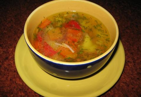Суп с ветчиной и сладким перцем