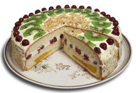 Бисквитный торт «Фруктовая радуга»