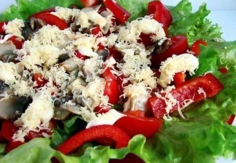 Рецепт - Салат с перцем и шампиньонами