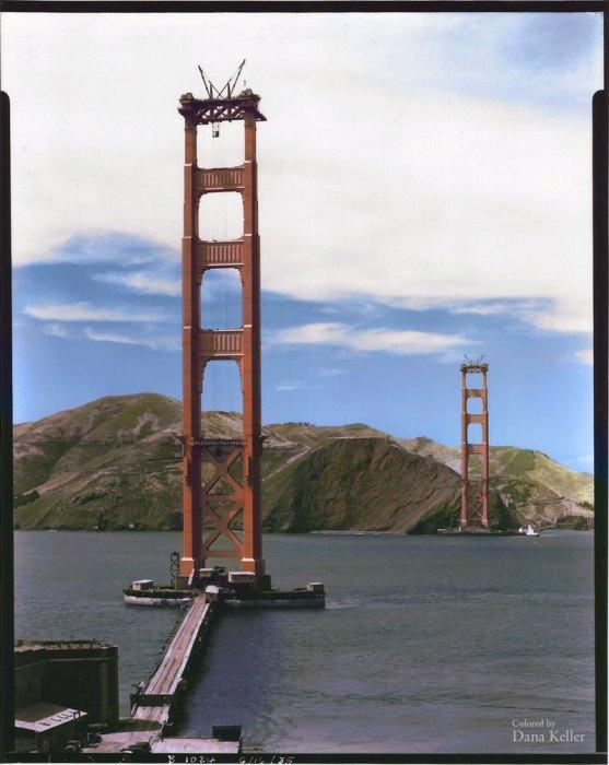 Строительство висячего моста Золотые Ворота.