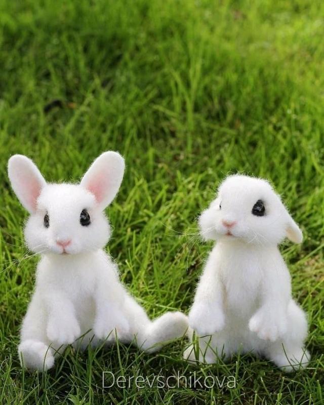 Ðгрушки животные, ручной работы. Ярмарка МаÑтеров - Ñ€ÑƒÑ‡Ð½Ð°Ñ Ñ€Ð°Ð±Ð¾Ñ'а. Купить Белые кролики. Ðгрушки иРшерÑти. Handmade. Кролик