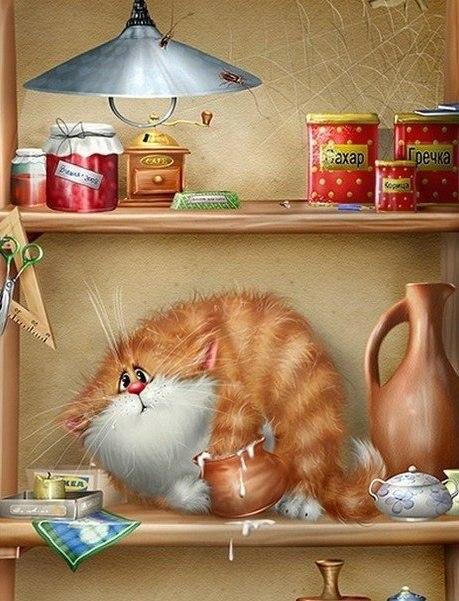 Кот на полке ест сметану
