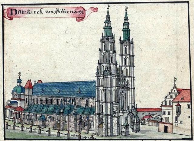 Собор Иоанна Крестителя на острове Тумский во Вроцлаве, рисунок XVIII века.   Фото: en.wikipedia.org.