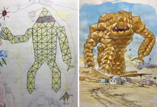 Художник превращает рисунки сыновей в невероятных аниме-персонажей (11 фото)