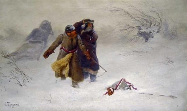 «В метель», (1887). Автор: Константин Трутовский.