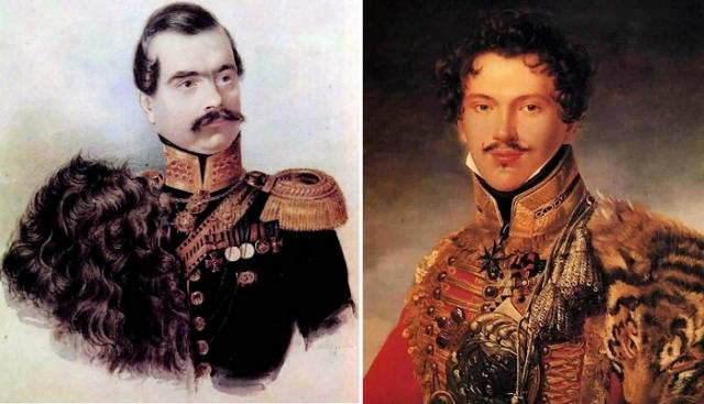 Слева: полковник лейб-гвардии Гусарского полка Н. И. Бухаров (1838), справа: офицер лейб-гвардии Гусарского полка П. П. Лачинов (1814). | Фото: leonidzl.com.