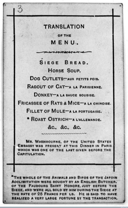 Меню другого ресторана Парижа периода осады 1870-1871 гг. | Фото: wellcomeimages.org.