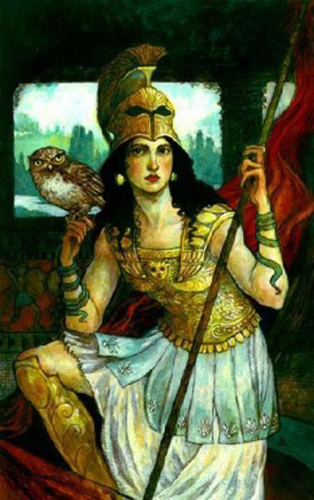 Богиня Афина покровительствовала и врачевателям тоже. Картина Ребекки Гуэй.