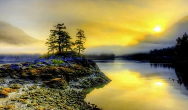 красивый рассвет на реке фото - 18