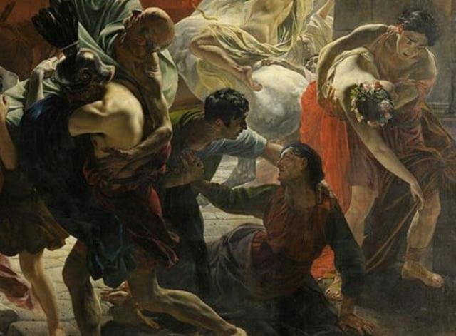 Фрагмент картины, на котором изображены молодожены в венках из цветов и сын с матерью, уговаривающей его оставить ее и бежать   Фото: moiarussia.ru