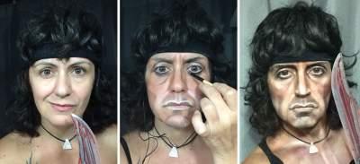 Девушка с легкостью перевоплощается в звезд с помощью макияжа. Фото