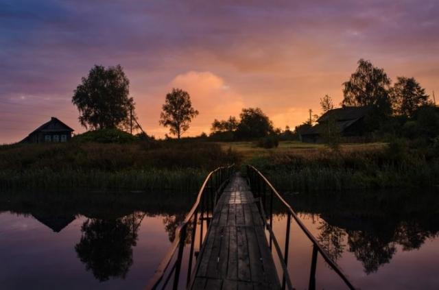 красивый рассвет на реке фото - 21