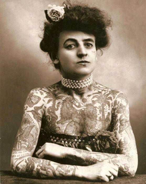 Мод Вагнер - первая американская женщина-татуировщик. США, 1907 год.