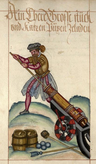 Артиллерист, заряжающий орудие, 1584 год. | Фото: en.wikipedia.org.