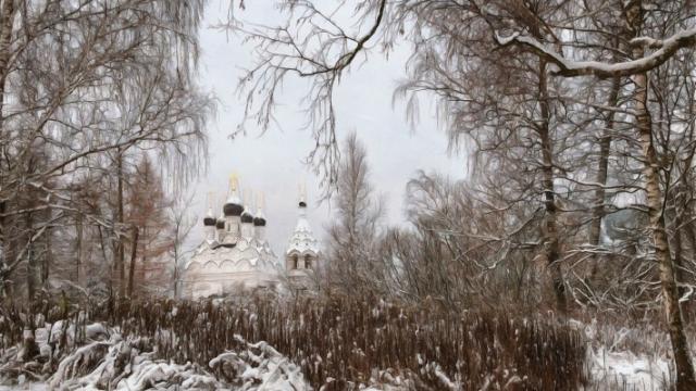Зимние обои на рабочий стол церковь в зимнем лесу