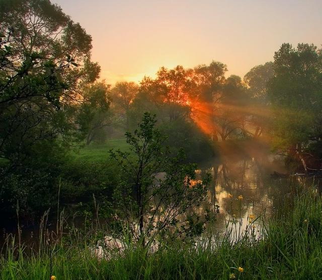 рассвет у реки фото - 11