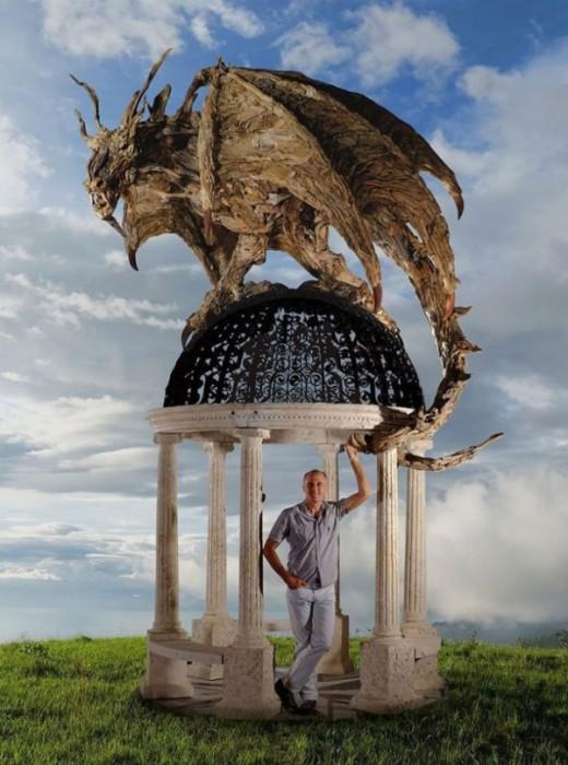 Беседка, деревянные драконы Джеймса Дорана-Уэбба.