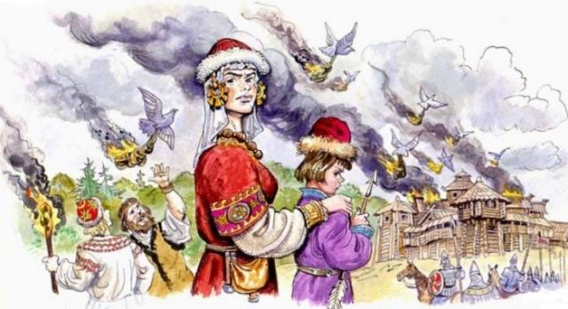 Княгиня Ольга сжигает Искоростень. | Фото: korostenlife.com.ua.