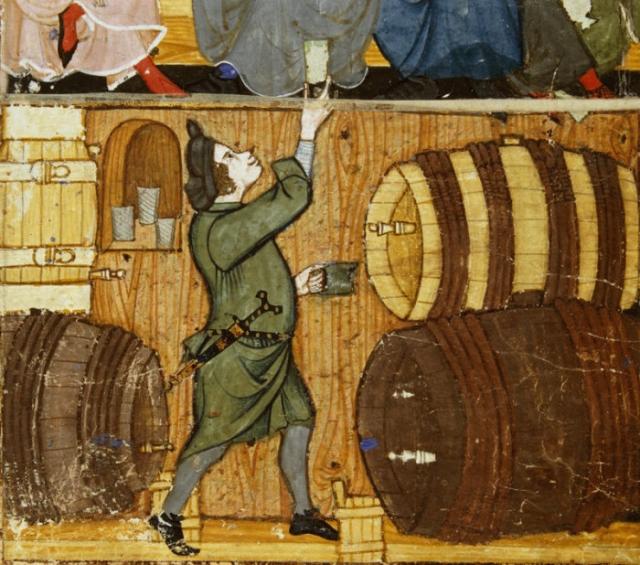 Виночерпий из подвала подает стакан пьющим в комнате наверху. Конец XIV века.   Фото: commons.wikimedia.org.