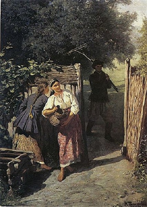 У плетня. (1879 г.) Автор: Константин Трутовский.